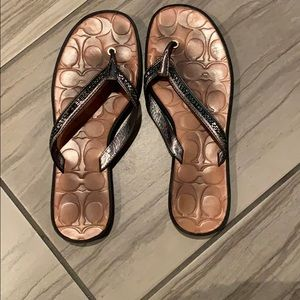 Jeweled Coach Flip Flops